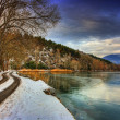 Lake scen i vinter — Stockfoto