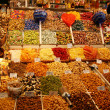 La Boqueria, fruits. World famous Barcelona market, Spain. Selective focus. — Stock Photo