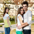 Two girls and a boy — Stock Photo