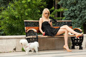Fashion woman park — Stock Photo