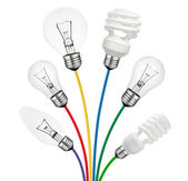 Ideas - Lightbulbs attached to colored cables — Stock Photo