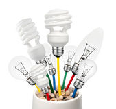 Idea - varie lampadine, crescendo in una pentola — Foto Stock