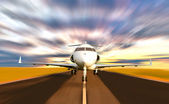 Private Jet Plane Taking off with Motion Blur — Stock Photo