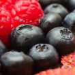 Blueberry, Raspberry, Strawberry Macro Mix — Stock Photo