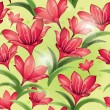 Seamless pattern - Red lilies — Stock Vector