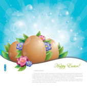 Easter eggs with green leaves and flowers against blue sky — Stock Vector