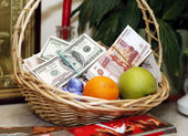 Composition with banknotes dollars and Russian rubles — Stock Photo