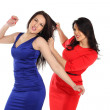 Conflict girlfriend.two girls fighting on a white background. me — Stock Photo