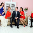 A group of sitting in the apartment and have fun talking — Stock Photo #9084910