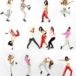 Collage girls dancing isolated on white background — Stock Photo #9640430
