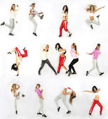 Collage girls dancing isolated on white background — Stock Photo