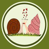 Funny snails in love — Stock Vector
