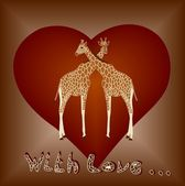 Giraffes in love — Stock Vector