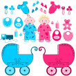 Babies with accessories — Stock Vector