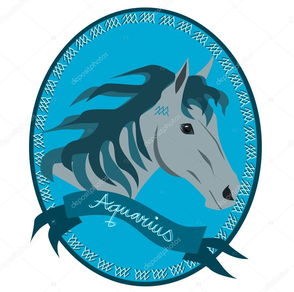 Illustration of horse head with zodiac signs — Stock Vector #9370451