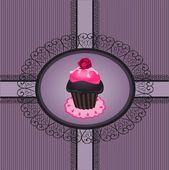 Cupcake vintage — Stockvektor