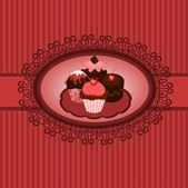 Cupcakes vintage — Stock Vector