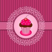 Cupcake vintage — Stock Vector