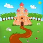 Cartoon illustration of castle — Stock Vector
