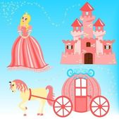Set of cartoon fairytale illustration — Stock Vector