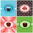 Stock Vector: Set of cupcake vintages