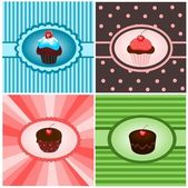 Set of cupcake vintages — Stock Vector