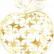 Stock Vector: Golden apple