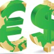 Dollar and euro icon — Stock Vector