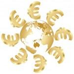 Symbol of euro around the world — Stock Vector