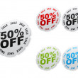 Fifty percent discount stickers — Stock Vector