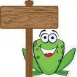 Frog with wooden banner — Stock Vector