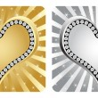 Stock Vector: Golden and silver heart banner