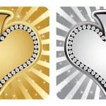 Golden and silver heart banner — Stock Vector