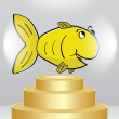 Golden fish on podium - Stock Vector