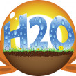 Vector de stock : Sunshine ball with h2o text