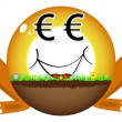 Sunshine ball with euro face — Stock Vector