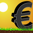 Sunshine view with euro in front - Stock Vector