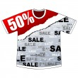 Fifty percent discount on t-shirt — Stock Vector