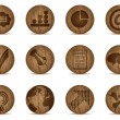 Office icons made of wooden balls — 图库矢量图片