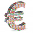 Stock Vector: Euro with world flags