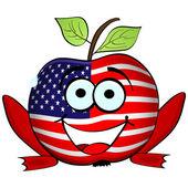 Happy american apple — Stock Vector