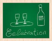 Celebration draw on blackboard — Stok Vektör