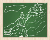 Christmas concept drawing on blackboard — Stock vektor