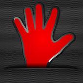 Czerwony ludzkiej dłoni — Wektor stockowy