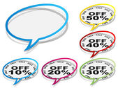 Collection of discount chat stickers — Stockvector