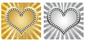 Golden and silver heart banner — Stock Vector
