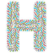 Colorful letter h made of stars — Stock Vector