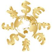 Money symbols around the world — Stock Vector