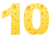 Number ten made of cheese — Stock Vector
