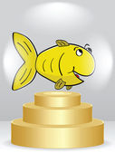 Golden fish on podium — Stock Vector